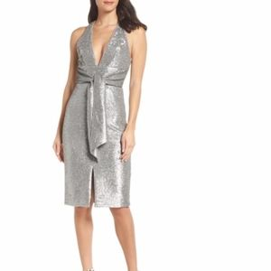 HARLYN Plunge Neck Sequin Dress NWT XS